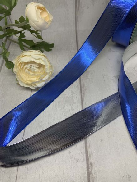 Silver & Blue metallic reversible wire edge ribbon